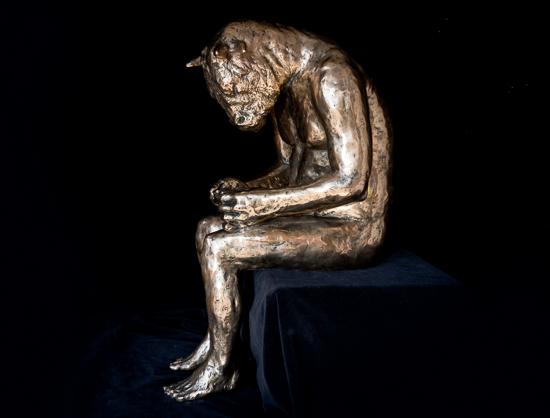Minotaur Reading (polished bronze)